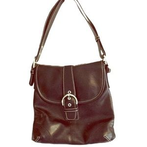 Belle Rose Italian Leather Bag Purse Black